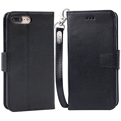 iphone 7 plus case, iPhone 8 plus case, Arae PU leather wallet Case with Kickstand and Flip Cover for iPhone 7 plus (2016)/iPhone 8 plus (2017) - Black by Arae (Image #5)