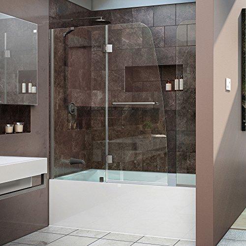 DreamLine Aqua 56-60 in. Width, Frameless Hinged Tub Door, 1/4