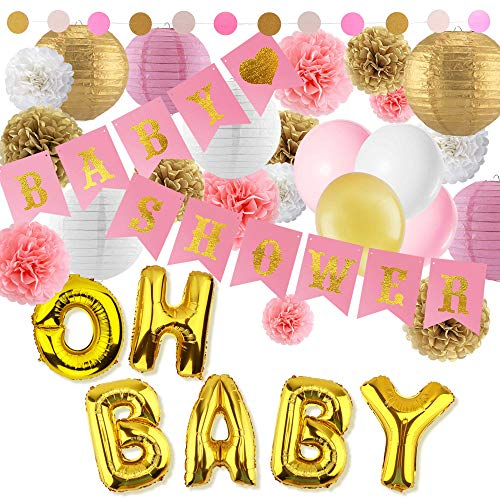 Eurus Home Girl Baby Shower Decorations Kit | 37 Supplies Set for a Great Birthday Party – Pink and Gold Flag Banners, Colorful Dot Garland, Balloons, Paper Lanterns & Rose Tissue Pom Poms -