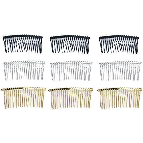 Monrocco 30Pcs 20 Teeth Fancy DIY Metal Wire Hair Clip Combs Bridal Wedding Veil Combs Fashion Hair Comb Pin for Women Lady