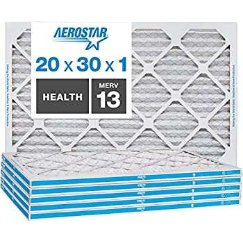 Aerostar Home Max 20x30x1 MERV 13 Pleated Air Filter, Made in the USA, 6-Pack