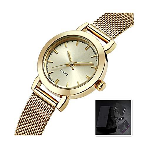 New Watch Women Luxury Dress Full Steel Watches Fashion Casual Ladies Quartz Watch Female Table Clock Wristwatch,Golden and Box