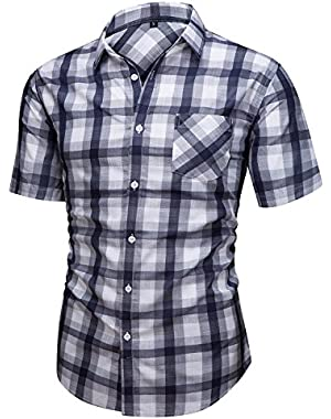 Men's Casual Cotton Short Sleeve Plaid Western Button Down Dress Shirts