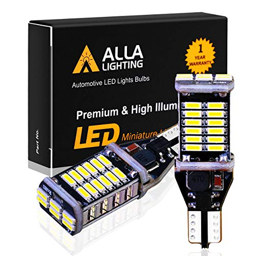 Alla Lighting 912 921 LED Backup Light Bulbs Extremely Super Bright 4014 30-SMD Chipsets CANBUS 921 LED Bulbs T15 906 W16W 921 Back up Reverse Cargo Lights Replacement for Cars RV Trucks, 6000K White