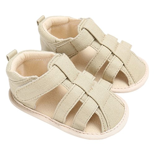 Baby Summer Closed Toe Canvas Adventure Seeker Anti-Slip Beach Walking Sandals Cream Size 4M by lakiolins