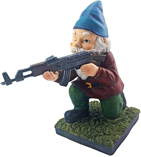 Amazon Com Military Garden Gnome With An Ak47 Funny Army Statue Perfect For Gun Lovers Military Collectors Combat Enthusiasts Army Men Indoor Outdoor Lawn Yard Décor Kneeling Traditional Kitchen