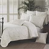Moldiy White Embroideried Exquisite Palm Leaves Pattern Cotton Quilt Sets,Quilt and Pillow Shams,3 Pcs,King