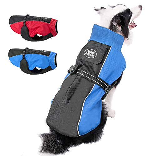 Beirui Reflective Waterproof Dog Winter Jackets for Large Dogs - Windproof Fleece Lined Warm Dog Coats with Harness & Leash Holes,Blue,4XL