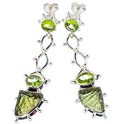 "Ana Silver Co Huge Czech Moldavite, Peridot 925 Sterling Silver Signature Earrings 2 1/8"""