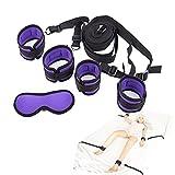 MSsmart(TM) Fetish Bondage Restraints Nylon Handcuffs and Ankle Cuffs Mask Restraint Set with Adjustable Strap,Purple