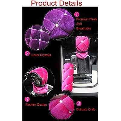 Pinbola Bling Bling Auto Handbrake Cover & Shift Gear Cover Set Luster Crystal Car Decor Accessories Soft Plush Warm,Set of 2 pcs: Automotive