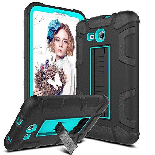 Samsung Galaxy Tab Lite E 7.0 Case, Galaxy Tab 3 Lite 7.0 Case, Venoro [Kickstand Feature] Shockproof Heavy Duty Armor Defender Protective Case Cover for SM-T110 / T111 / T113 (Black/Blue)