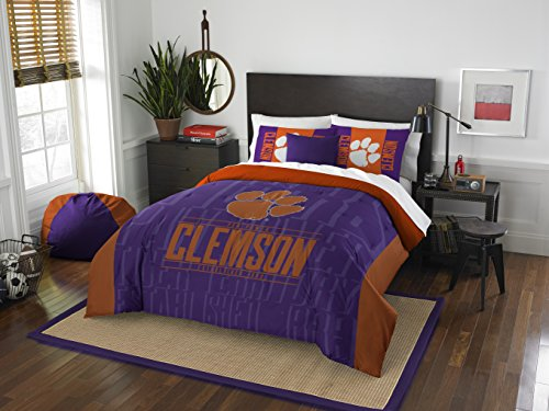 Officially Licensed NCAA Clemson Tigers Modern Take Full/Queen Comforter and 2 Sham Set