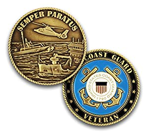 Coins For Anything Inc Coast Guard Veteran Challenge Coin! Design Officially Licensed Under Coast Guard Military Challenge Coin! Designed by Military Veterans! from Coins For Anything Inc