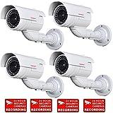 VideoSecu 4 Pack Dummy Fake Bullet Security Cameras CCTV Surveillance Imitation IR Infrared LEDs with Flashing Light DMYIRV2 MDC