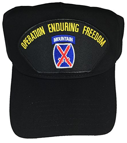 Family Crest Trucker Hat - 10TH MOUNTAIN OPERATION ENDURING FREEDOM OEF W/ CREST HAT - BLACK - Veteran Owned Business