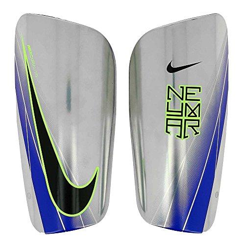 Nike Neymar Mercurial Lite Shin Guard (Blue/Chrome/Volt) (L) (Guards Leg Lite)