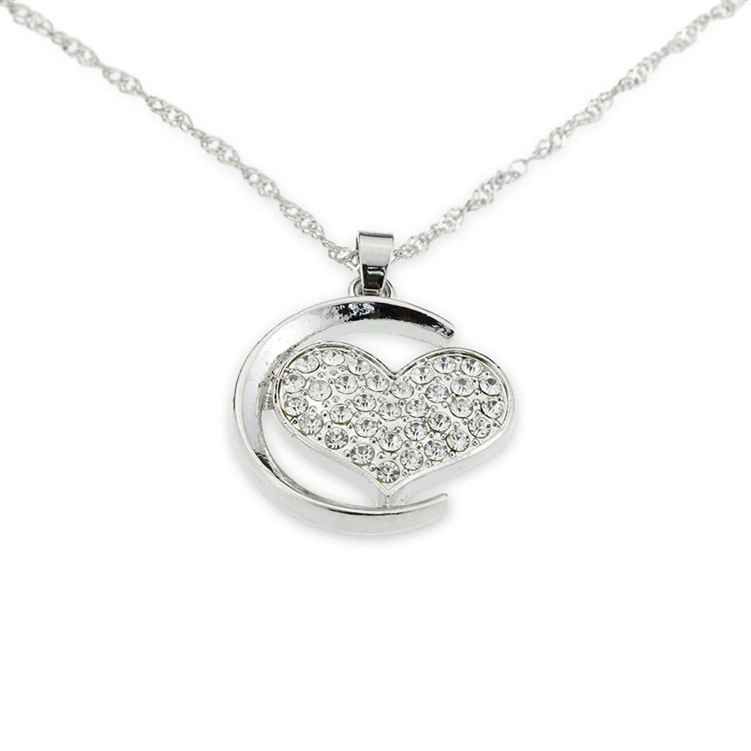 Amazon Silver Necklace for Girlfriend s Gift Heart Over the