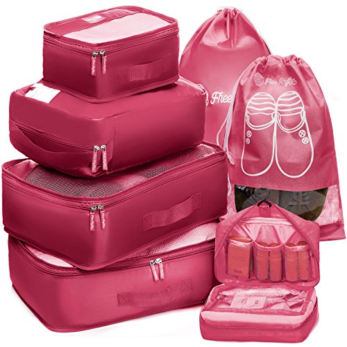 Packing Cubes Travel Set 7Pc 2 Large Cube Organizer Laundry Shoe & Toiletry Bag (Coral)