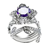 Clearance! Women's Vintage Elegant Rose Diamond Silver Plated Engagement Wedding Band Ring (Purple, 7)