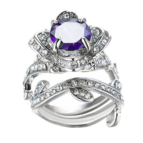 Clearance! Women's Vintage Elegant Rose Diamond Silver Plated Engagement Wedding Band Ring (Purple, 10)
