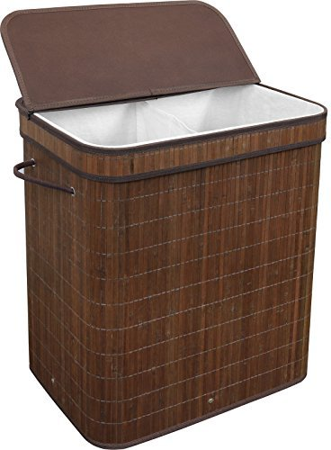 51BoWKMNFuL - Greenco Bamboo Foldable Double Hamper, Flip-top Lid, Side Rope Carrying Handles and Inner Liner With Divider- Espresso