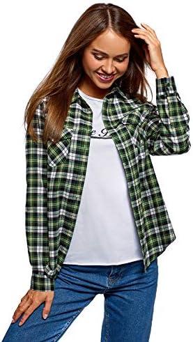 oodji Ultra Mujer Camisa a Cuadros con Bolsillos en el Pecho