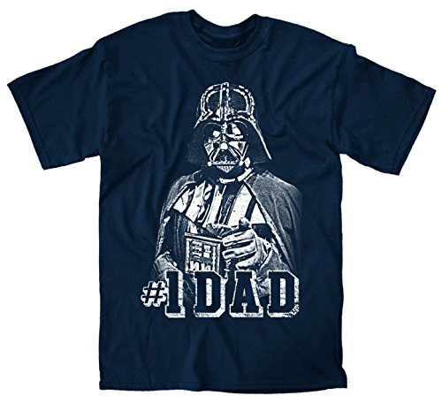 Darth Vader #1 Dad Father Classic Pose Men's Adult Graphic Tee T-Shirt (Large, Navy)