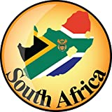 South Africa Map Flag Glossy Label Home Decal Vinyl Sticker 12'' X 12''