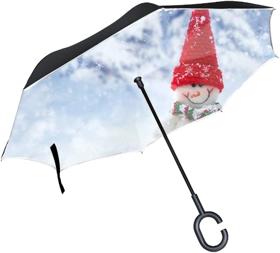 Windproof Self-Standing UV Protection Christmas Large Inverted Double Layer Reverse Folding Umbrella