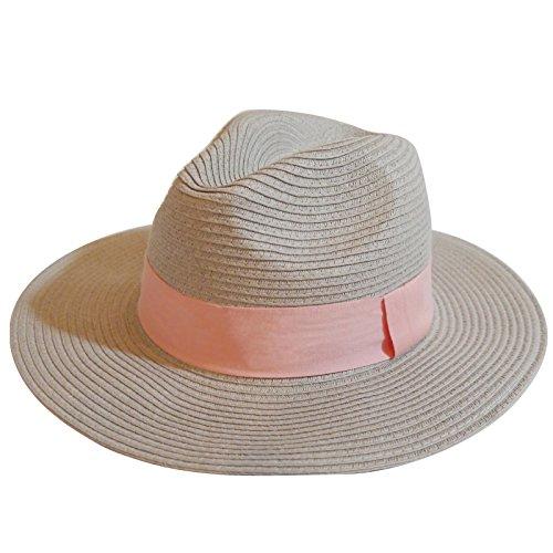 MAISON DE COCO UNISEX Adjustable sized Panama Straw Hat - Summer Wide Straw Fedora Hat-LGPK
