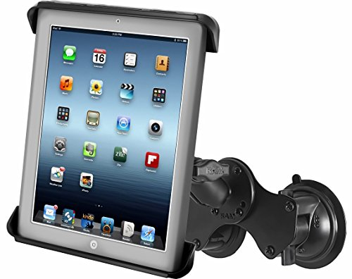 Ram Mount RAM-B-189-TAB3U RAM Double Twist-Lock™ Suction Cup Mount with Tab-Tite™ Universal Spring Loaded Cradle for the Apple iPad 1-4 With Or Without Light Duty Case (Cradle Double)