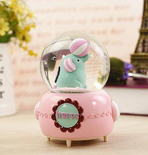 Viel Spaß Kreativer netter Elefant-Kristallball-Spieluhr mit Schneeflocke für Hauptgeschäft Dekoration-Rosa