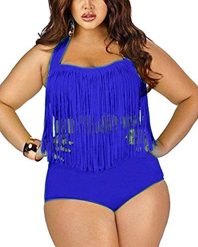 Donne Taglie Forti Charme Colore Retro Nappa A Vita Alta Due Pezzi Bikini Costumi Da Bagno Blu Zaffiro