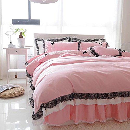 姫系かわいい リボン寝具カバーセット (グレー, シングル) B07BF97W1K シングル|グレー グレー シングル