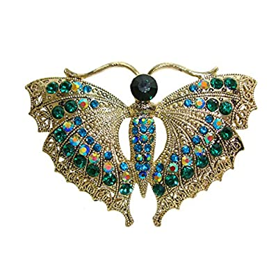 Hot TTjewelry Vintage Style Butterfly Insect Gold-Tone Brooch Pin Green Rhinestone Crystal