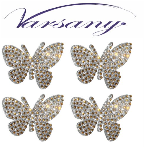 Gold Butterfly Self Adhesive Sticker Bling Rhinestone Gem Crystal Butterfly Gem