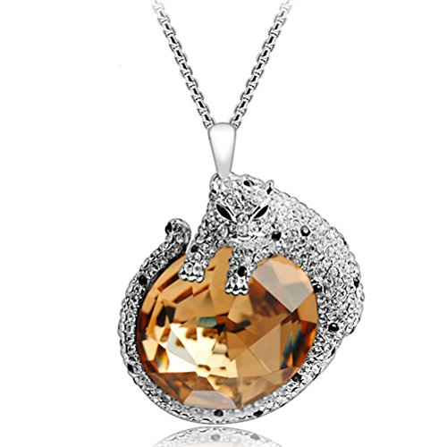 Chaomingzhen Gold Plated Coffee Crystal Leopard Pendants Extra Long Necklaces Women (Leopard Long Extra)