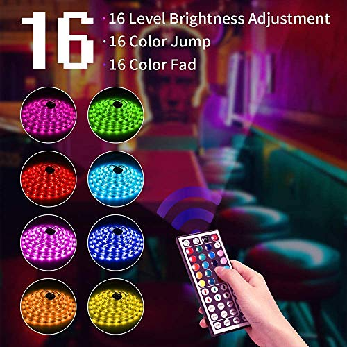 DLIANG 55ft LED Strip Light RGB Flexible Tape Lights 5050 SMD RGB 480 LEDs Non Waterproof 16M Rope Light with 44 Keys IR Remote Controller and 24V Power Adapter for Home Kitchen Party Deco