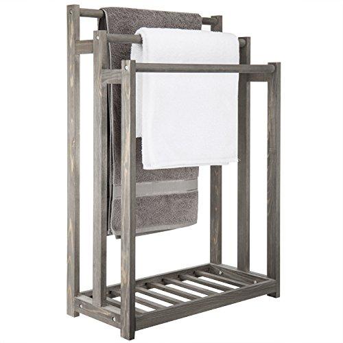 MyGift 3-Bar Wood Grey Towel Rack with Bottom Shelf ()