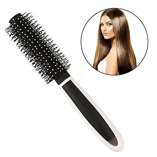 Round Rubber Brush (Round Hair Brush, Handle Round Hairbrush Anti-Static, Plastic Handle Round Hairbrush, plastic Hair Brush for Blow Drying, Curling, Styling, Straightening)