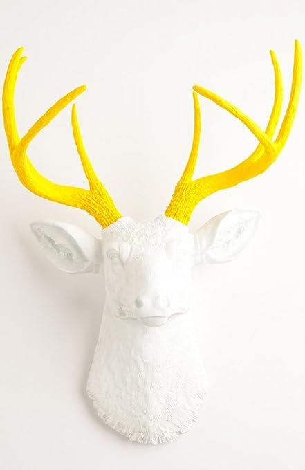 Amazon.com: The Baron   Resin Deer Head   White Deer Head w/ Yellow ...