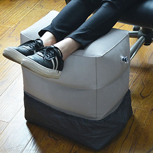 VT BigHome 3 Layers Inflatable Travel Foot Rest Pillow 385g Airplane Train Car Footrest Cushion With Storage Bag & Dust Cover by VT BigHome