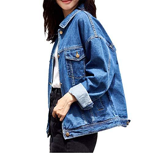 1ec12add0cf Loose Women's Denim Jackets, Vintage Navy Blue Women Jean Jackets, Long  Sleeve Stretch Boyfriend Denim Jacket Coat for Women