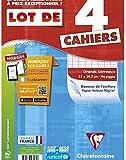 ClaireFontaine - Réf 643161C - Cahier Piqué 96 Pages A4 Grands Carreaux Coloris Assortis - Lot de 4