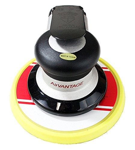 AirVANTAGE Industrial Grade Random Orbital Air Sander Non-Vacuum With Low-Profile Pad, 1/4 in. NPT Air Inlet (5'': 3/32- Hook & Loop) by AirVANTAGE TOOLS