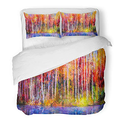 Emvency Decor Duvet Cover Set Twin Size Oil Painting Colorful Autumn Trees Semi Abstract of Forest Aspen Yellow Red 3 Piece Brushed Microfiber Fabric Print Bedding Set Cover -