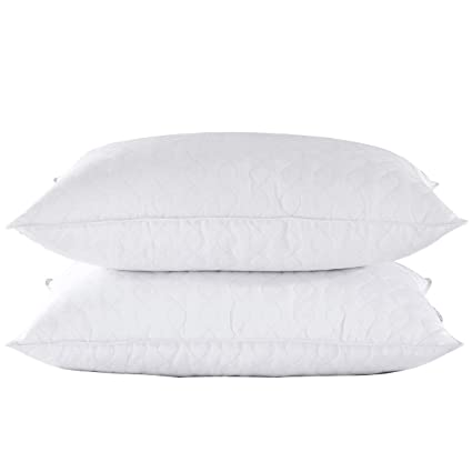 87c172d1b2b4e Amazon.com: puredown Quilted Goose Feather and Down Pillow, Set of 2,White,  King Size: Home & Kitchen