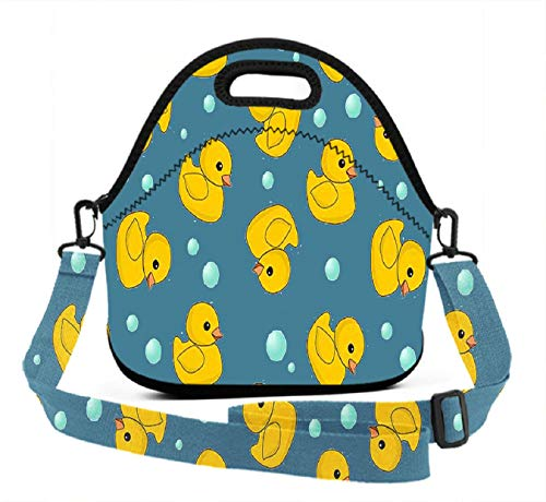 BesArts Lunch Box, Fun Ducks, Men Women Insulated Tote Bag Cooler Bag, Water-Resistant Thermal Lunch Bags for Picnic/Boating/Beach/Fishing/Camping