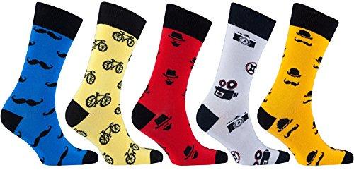 Socks n Socks-Men's 5-pair Luxury Cotton Mustache Funny Cool Socks Gift Box